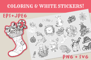 Christmas Coloring + White Stickers Pack Graphic Coloring Pages & Books Adults By ilonitta.r