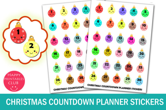 Print on Demand: Christmas Countdown Planner Stickers Graphic Crafts By Happy Printables Club