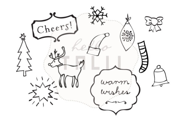 Christmas Doodles Clip Art (Graphic) by