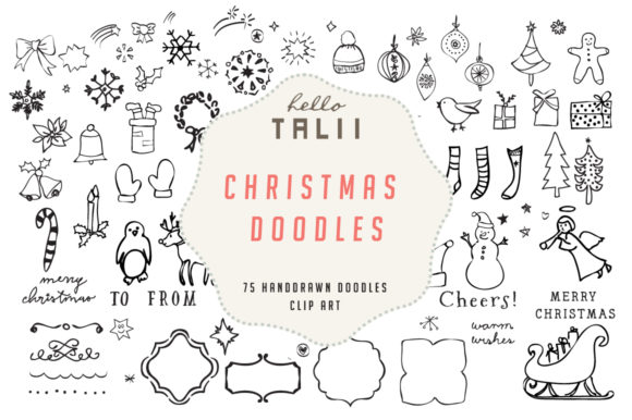Download Free Christmas Doodles Clip Art Grafik Von Hello Talii Creative Fabrica for Cricut Explore, Silhouette and other cutting machines.