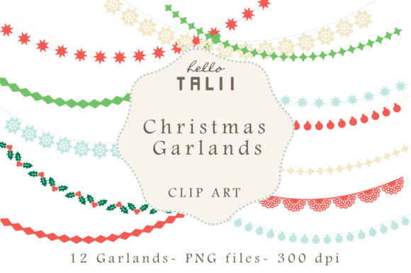Download Free Christmas Garlands Graphic By Hello Talii Creative Fabrica for Cricut Explore, Silhouette and other cutting machines.