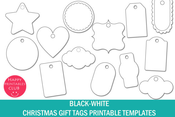 Download Free Christmas Gift Tags Printable Templates Graphic By Happy Printables Club Creative Fabrica for Cricut Explore, Silhouette and other cutting machines.