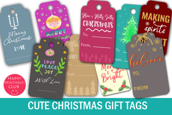 Download Free Christmas Gift Tags Graphic By Happy Printables Club Creative for Cricut Explore, Silhouette and other cutting machines.