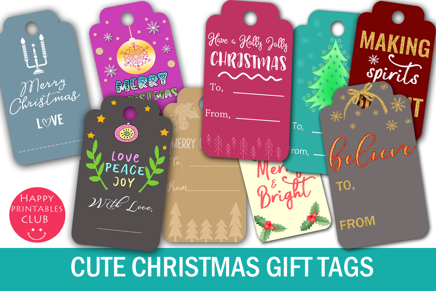 Download Free Christmas Gift Tags Graphic By Happy Printables Club Creative Fabrica for Cricut Explore, Silhouette and other cutting machines.