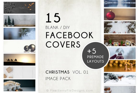 Print on Demand: Christmas Holiday Facebook Covers Graphic Graphic Templates By Pixel Berry Pie Designs