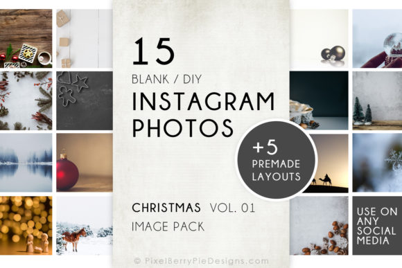Print on Demand: Christmas Holiday Instagram Photo Templates Graphic Graphic Templates By Pixel Berry Pie Designs