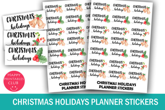 Print on Demand: Christmas Holidays Planner Stickers Graphic Crafts By Happy Printables Club