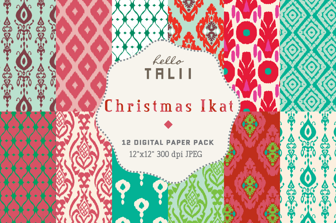Download Free Christmas Ikat Digital Paper Graphic By Hello Talii Creative for Cricut Explore, Silhouette and other cutting machines.