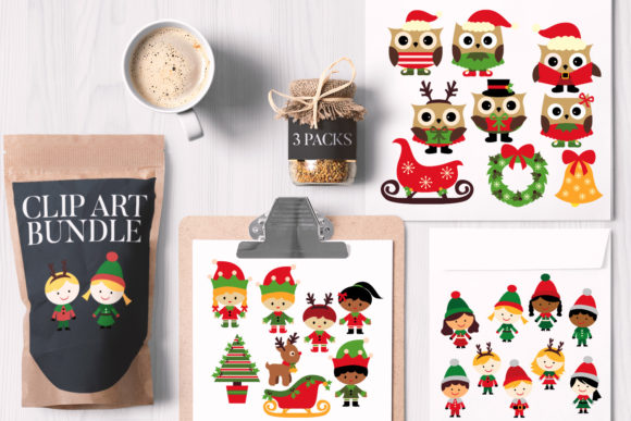 Print on Demand: Christmas Kids and Owls Bundle Graphic Illustrations By Revidevi