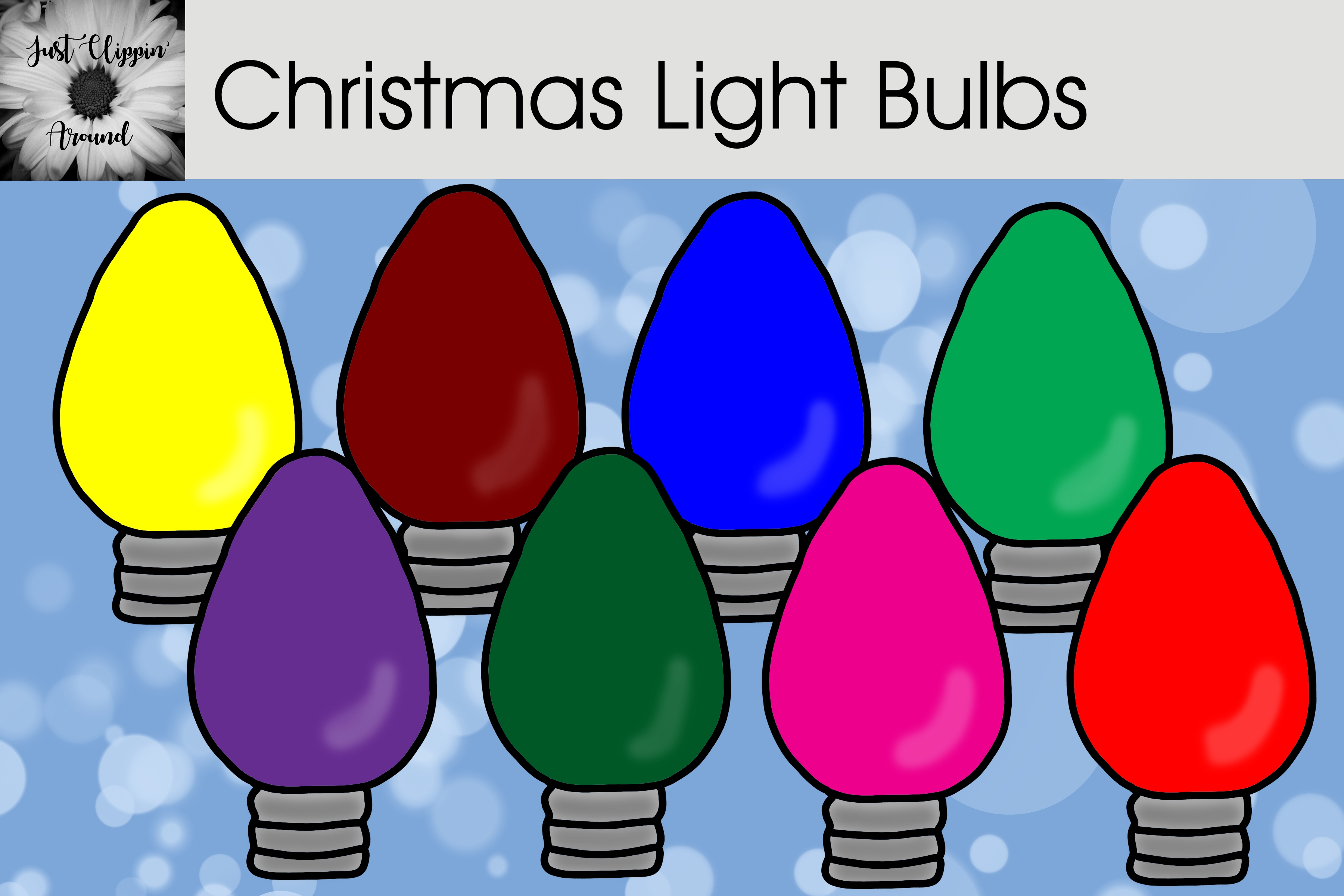 Download Free Christmas Light Bulbs Clip Art Graphic By Justclippinaround for Cricut Explore, Silhouette and other cutting machines.
