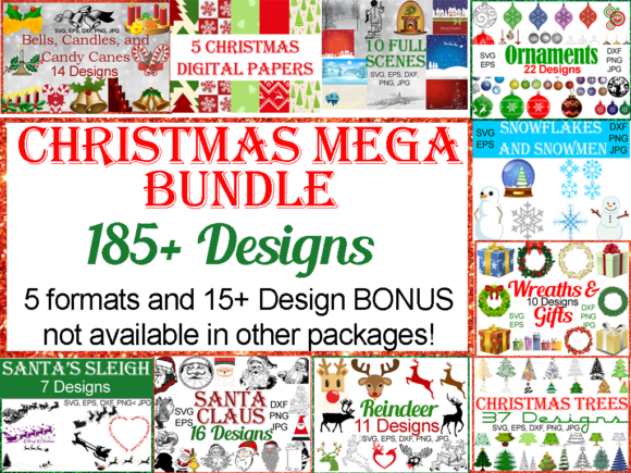 Print on Demand: Christmas Mega Bundle Graphic Illustrations By Quiet Deluxe Digital - Image 1