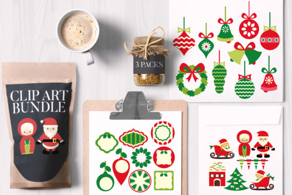 Print on Demand: Christmas Ornaments Bundle Graphic Illustrations By Revidevi