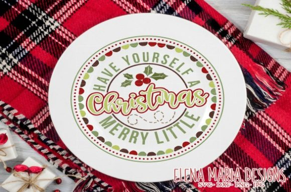 Download Free Christmas Plate Circle Svg Design Graphic By Elena Maria Designs for Cricut Explore, Silhouette and other cutting machines.