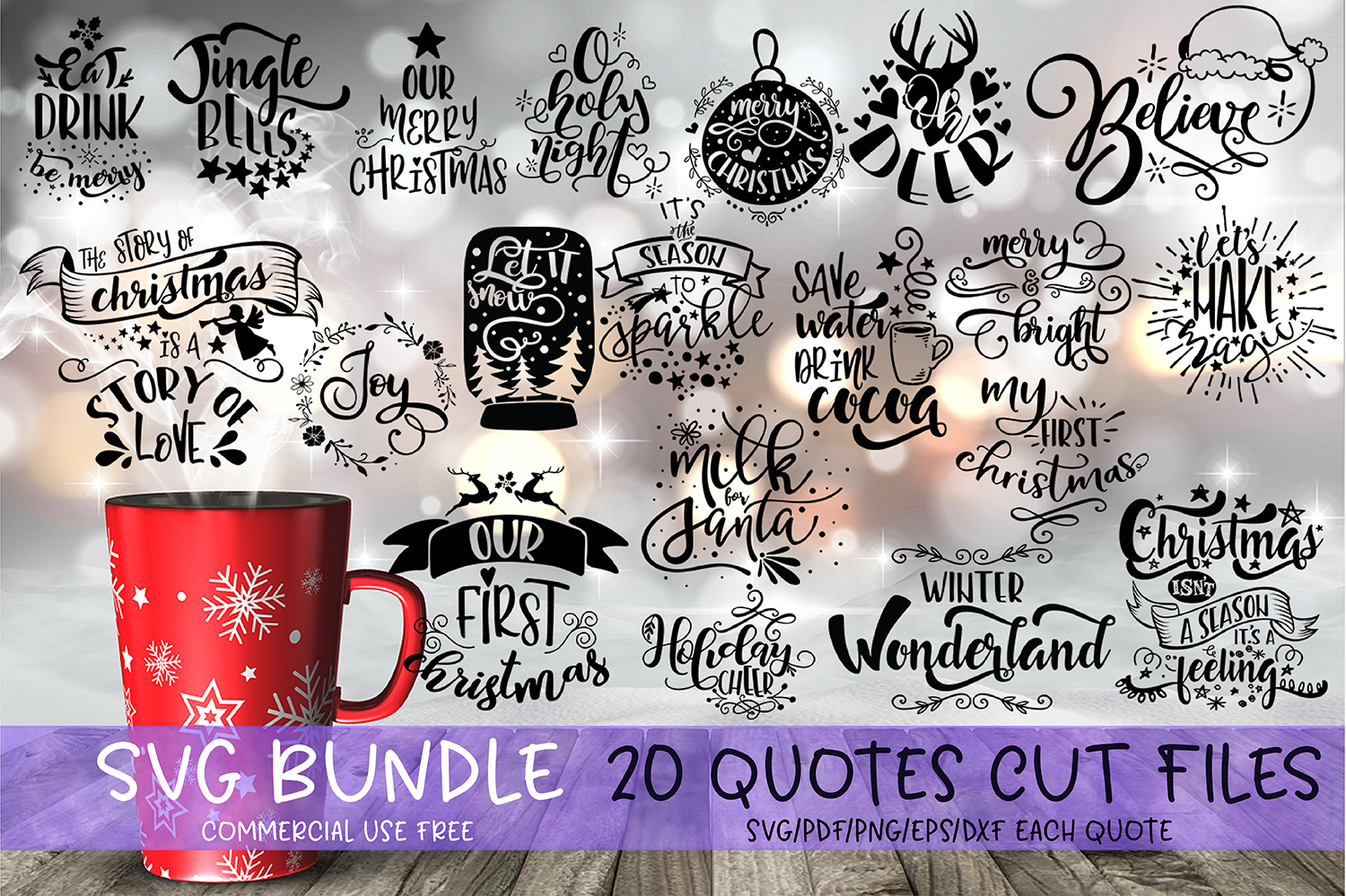 Download Free Christmas Quotes Bundle Grafico Por Svg Story Creative Fabrica for Cricut Explore, Silhouette and other cutting machines.