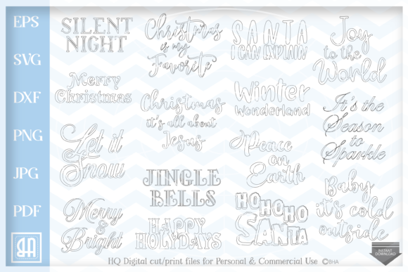 Christmas Quotes Bundle Graphic By Blueberry Hill Art Creative