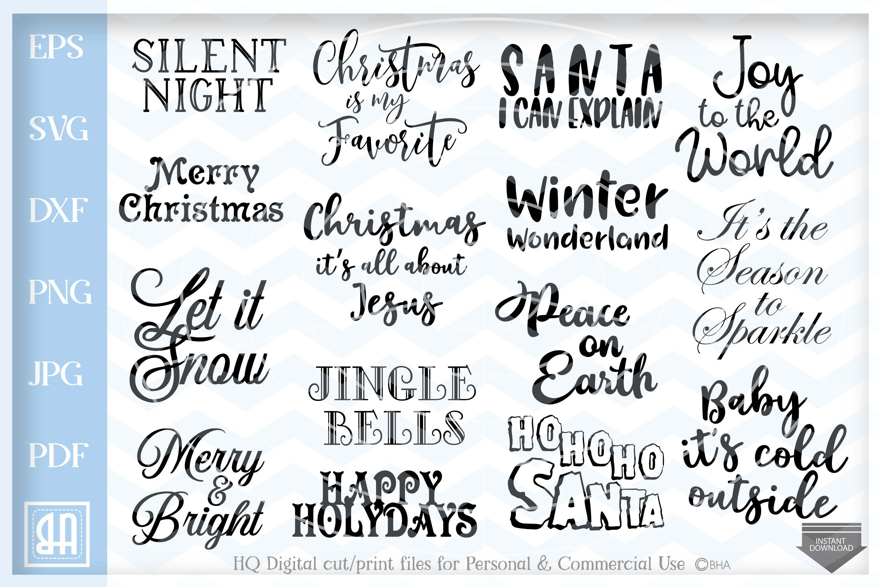 Download Free Christmas Quotes Bundle Graphic By Blueberry Hill Art Creative for Cricut Explore, Silhouette and other cutting machines.