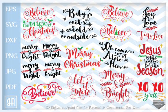 Christmas Bundle Graphic Crafts By Blueberry Hill Art