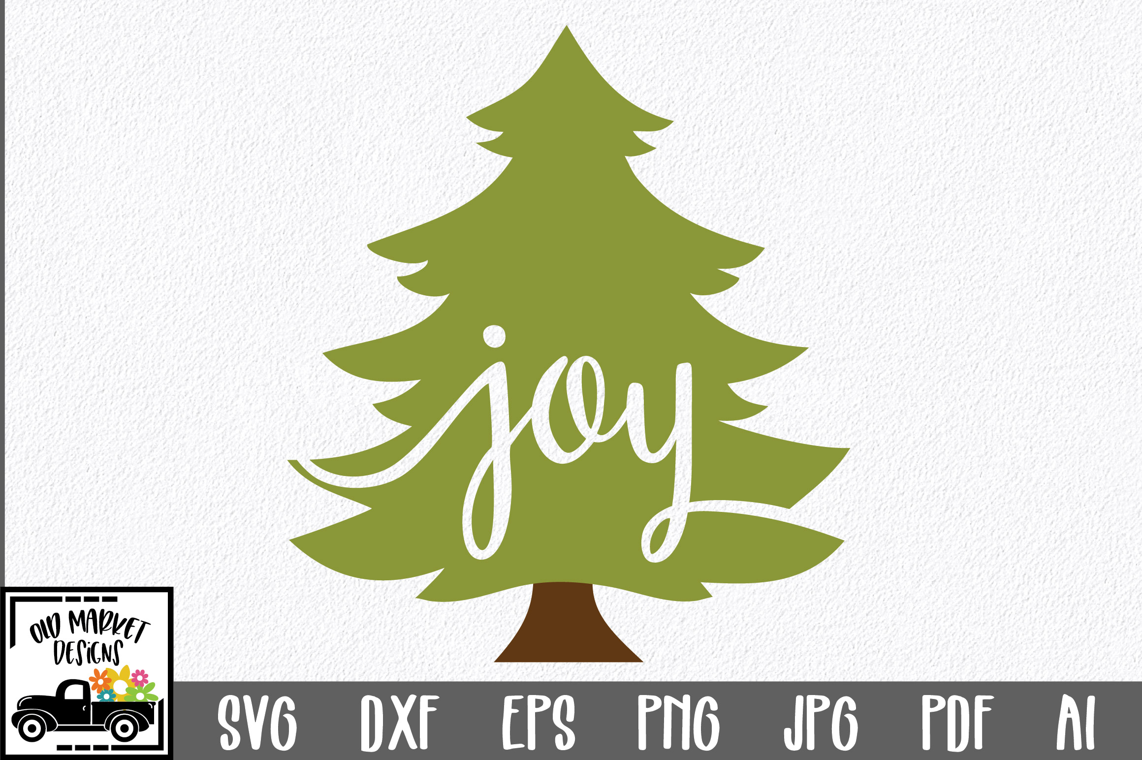 Download Free Christmas Joy Christmas Tree Graphic By Oldmarketdesigns for Cricut Explore, Silhouette and other cutting machines.