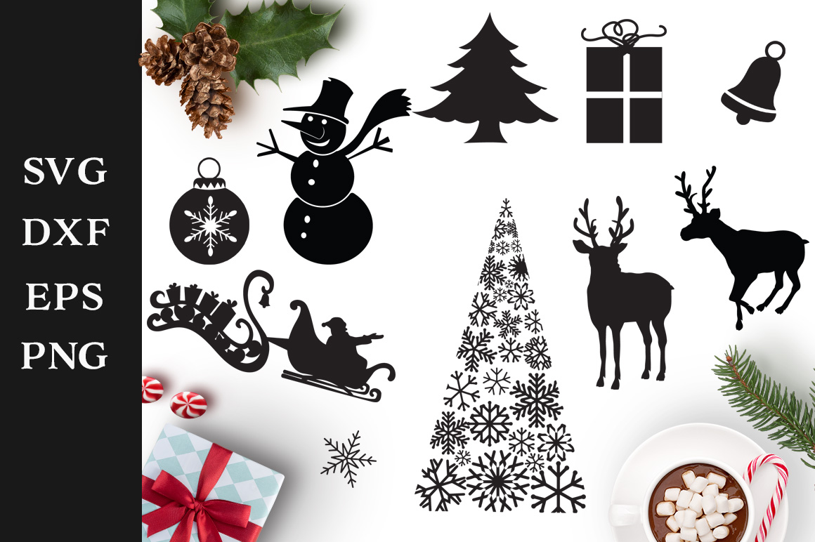 Download Free Christmas Shapes Graphic By Nerd Mama Cut Files Creative Fabrica for Cricut Explore, Silhouette and other cutting machines.