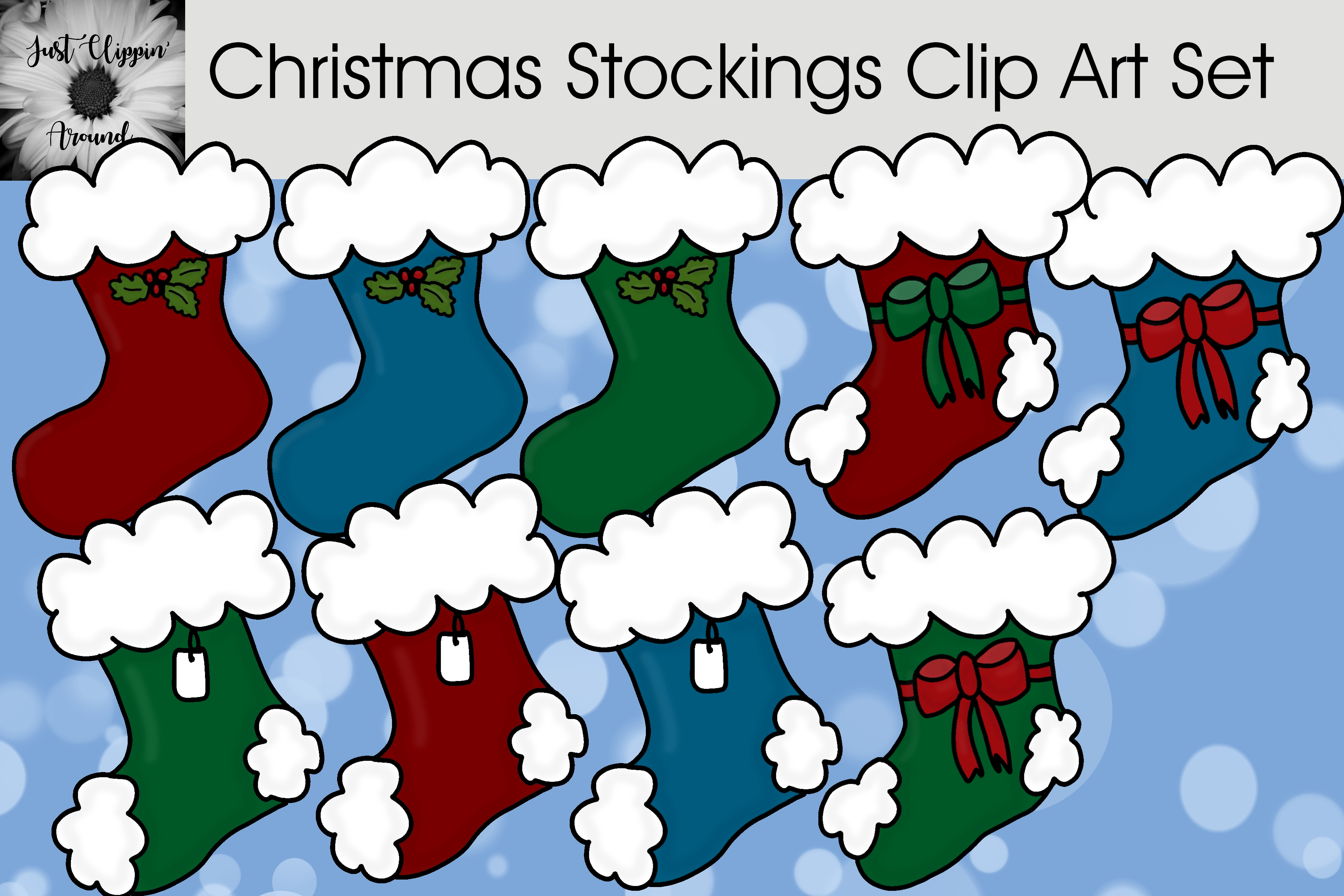 Download Free Christmas Stockings Clip Art Graphic By Justclippinaround for Cricut Explore, Silhouette and other cutting machines.