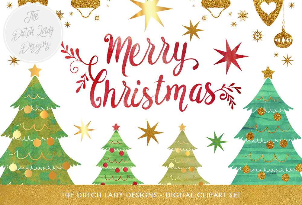 Download Free Christmas Tree Clipart Set Graphic By Daphnepopuliers Creative for Cricut Explore, Silhouette and other cutting machines.