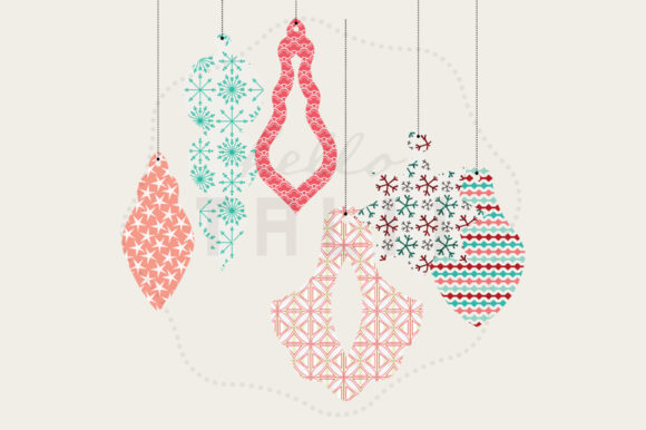 Download Free Christmas Tree Ornaments Clip Art Graphic By Hello Talii for Cricut Explore, Silhouette and other cutting machines.