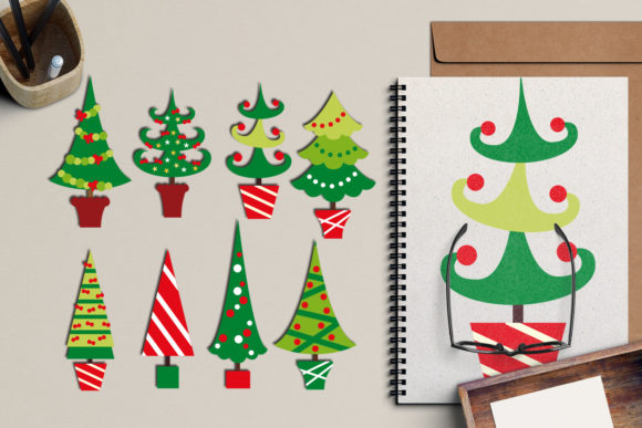 Download Free Christmas Trees And Wreaths Bundle Graphic By Revidevi for Cricut Explore, Silhouette and other cutting machines.