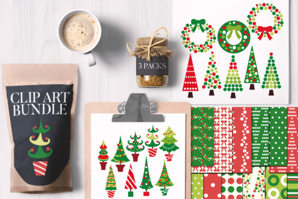 Print on Demand: Christmas Trees and Wreaths Bundle Graphic Illustrations By Revidevi
