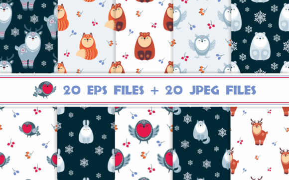 Christmas Woodland Seamless Patterns with Animals Graphic By Olga Belova Image 2