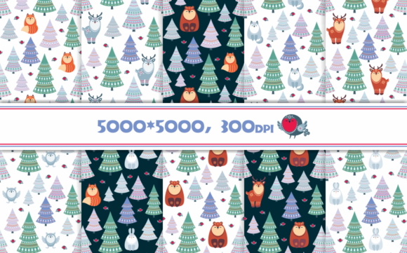 Christmas Woodland Seamless Patterns with Animals Graphic By Olga Belova Image 3
