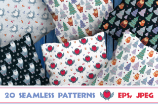 Christmas Woodland Seamless Patterns with Animals Graphic By Olga Belova