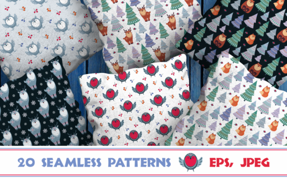 Print on Demand: Christmas Woodland Seamless Patterns with Animals Graphic Patterns By Olga Belova
