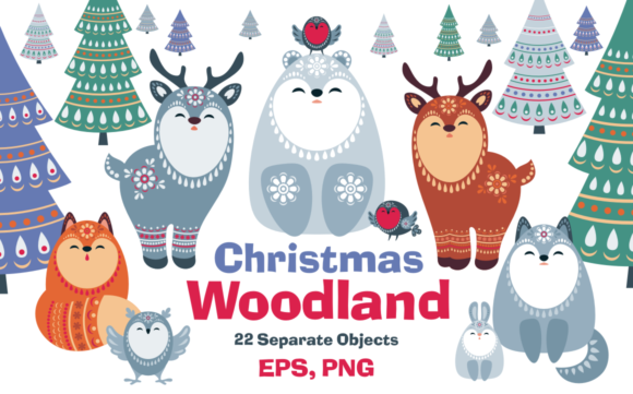 Print on Demand: Christmas Woodland Graphic Illustrations By Olga Belova