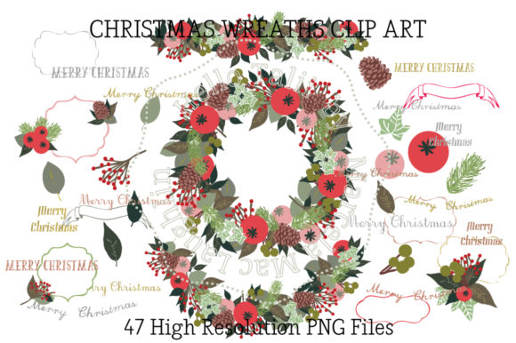 Christmas Wreath Clip Arts Graphic Illustrations By Hello Talii