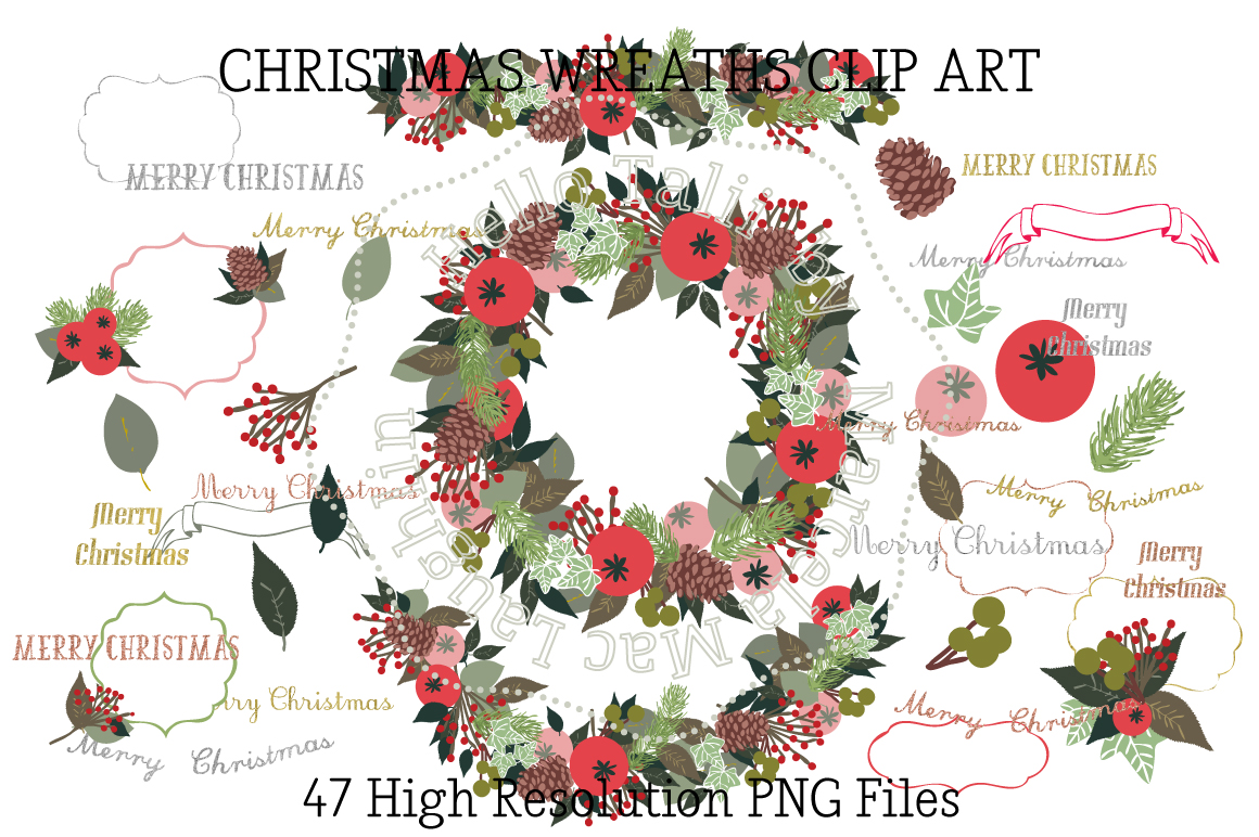Download Free Christmas Wreath Clip Arts Graphic By Hello Talii Creative Fabrica for Cricut Explore, Silhouette and other cutting machines.