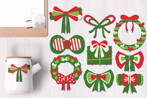 Download Free Christmas Wreath Ribbons Graphic By Revidevi Creative Fabrica for Cricut Explore, Silhouette and other cutting machines.