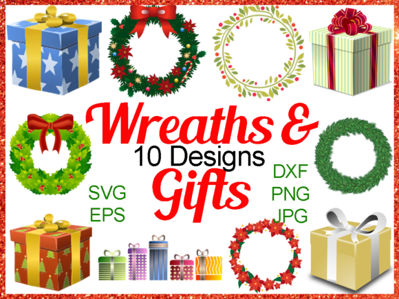 Print on Demand: Christmas Wreath and Gift Bundle Graphic Illustrations By Quiet Deluxe Digital