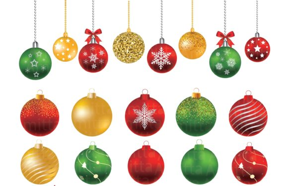 Christmas Balls Clipart Set Christmas Ornaments Clipart
