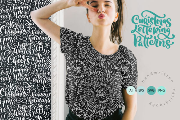 Christmas Lettering Patterns Graphic By Happy Letters