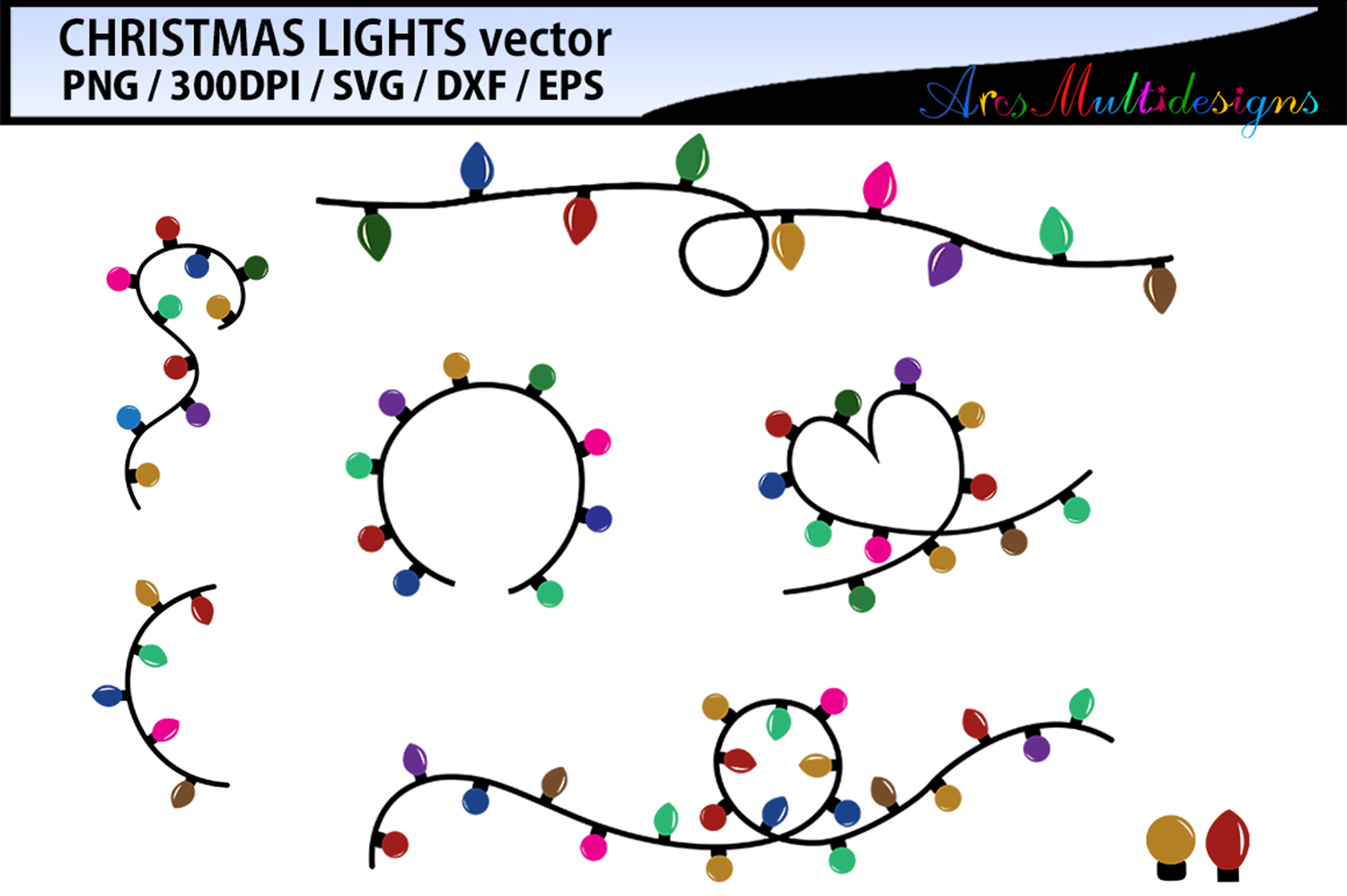 Download Free Christmas Light Vector Svg Vector Graphic By Arcs Multidesigns for Cricut Explore, Silhouette and other cutting machines.