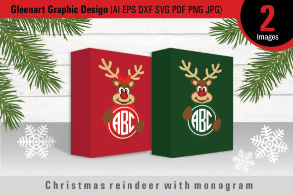 Download Free Christmas Reindeer With Monogram Graphic By Gleenart Graphic SVG Cut Files