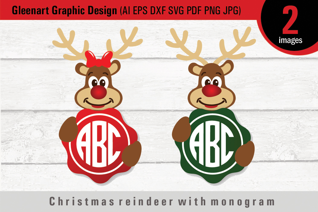 Download Free Christmas Reindeer With Monogram Graphic By Gleenart Graphic for Cricut Explore, Silhouette and other cutting machines.