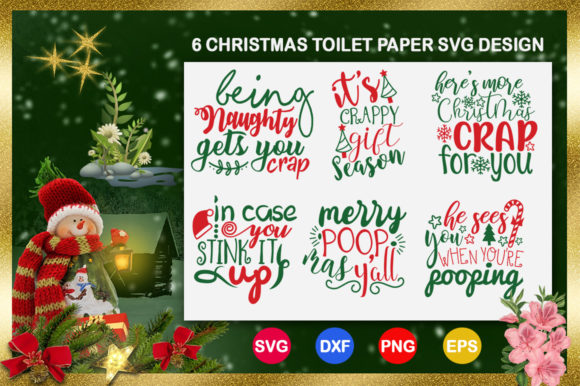 Download Free Christmas Toilet Paper Bundle Graphic By Design Palace for Cricut Explore, Silhouette and other cutting machines.