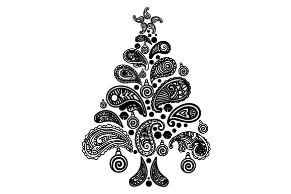 Christmas Tree Made Of Paisley Patterns Svg Cut File By Creative