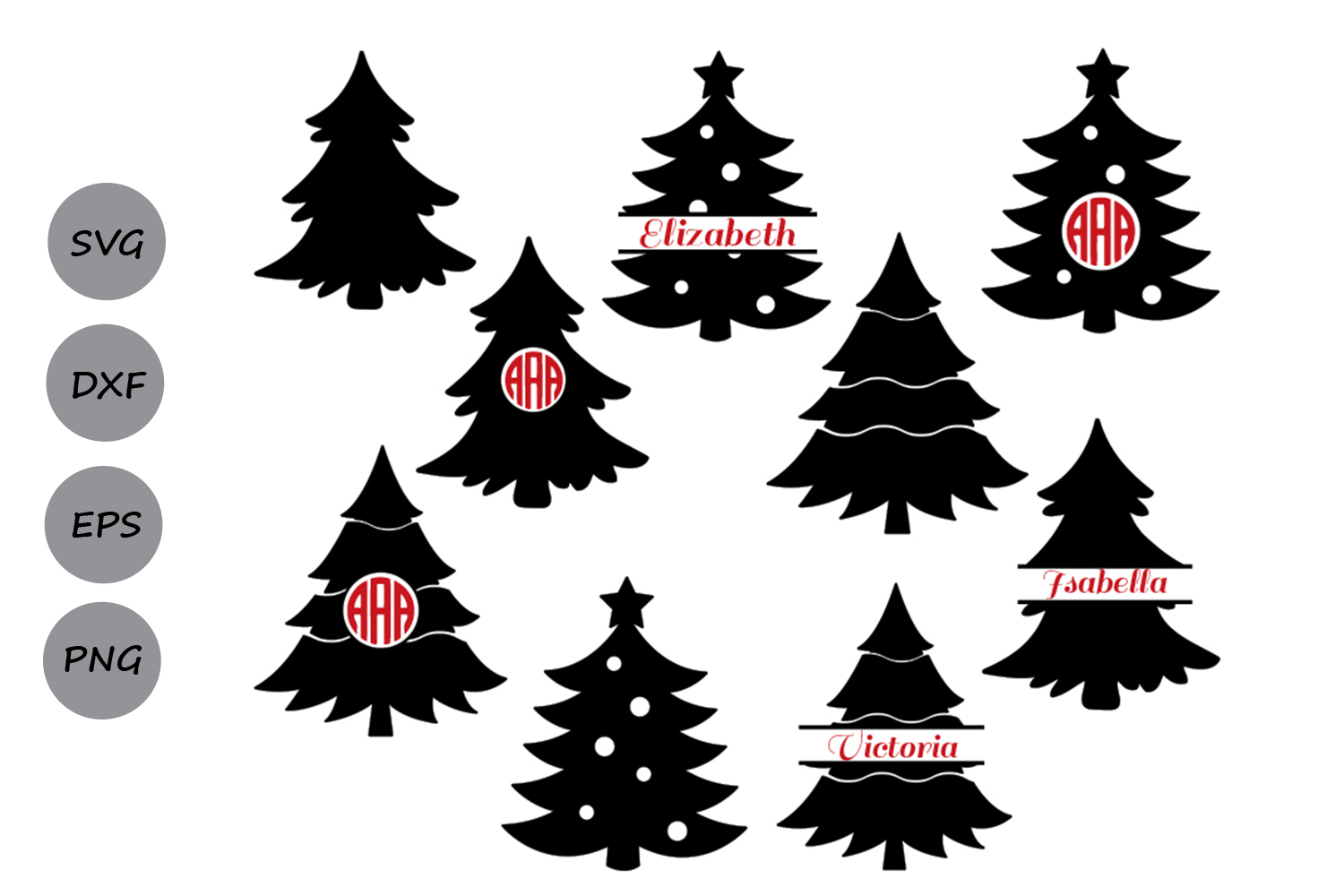 Download Free Christmas Tree Graphic By Cosmosfineart Creative Fabrica for Cricut Explore, Silhouette and other cutting machines.