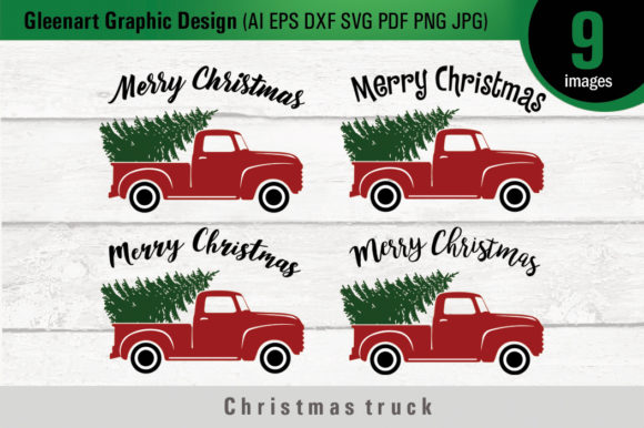 Christmas Truck with Tree - Svg Files Graphic Illustrations By Gleenart Graphic Design