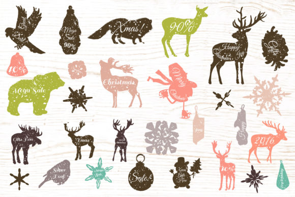 Download Free Christmas Vector Clip Art And Textures Bundle Graphic By for Cricut Explore, Silhouette and other cutting machines.