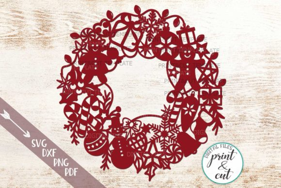 Download Free Christmas Wreath Graphic By Cornelia Creative Fabrica for Cricut Explore, Silhouette and other cutting machines.