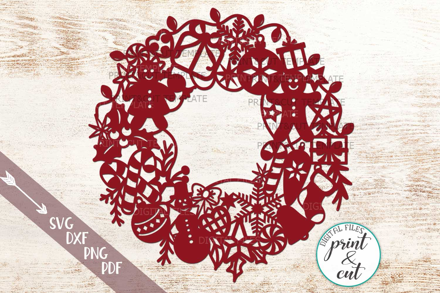 Download Free Christmas Wreath Svg Grafik Von Cornelia Creative Fabrica for Cricut Explore, Silhouette and other cutting machines.