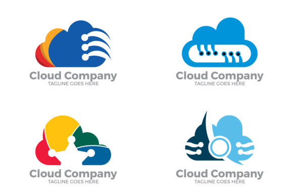 Download Free Cloud Logo Set Graphic By Thehero Creative Fabrica for Cricut Explore, Silhouette and other cutting machines.